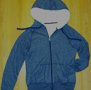 Sherpa Lined Navy Zipper Sweatshirt Hoodie S